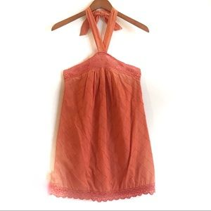 Max and Cleo Orange Mini Halter Shift Dress Size 2